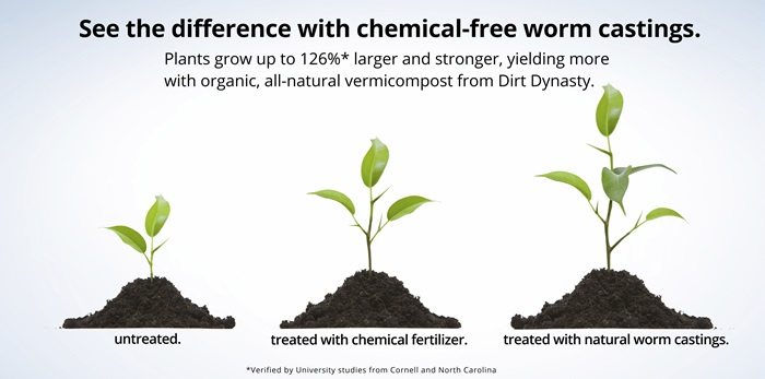 Chemical-free dirt grows healthy 100% organic plants